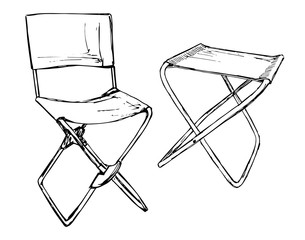 Two folding chairs on a white background isolation.