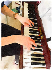 Digital watercolor painting of a young woman playing the piano showing her hands on the keys.