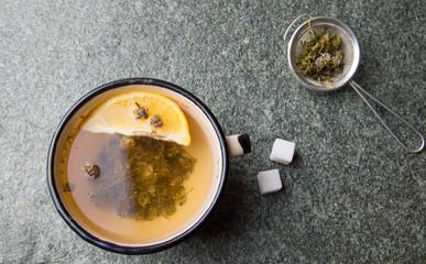 Wild thyme herbal tea with lemon