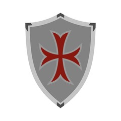 Protective shield icon, flat style