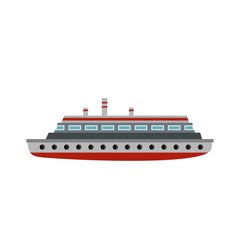 Long ship icon, flat style