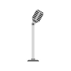 Microphone on stand icon, flat style