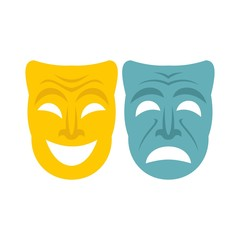 Happy and sad mask icon, flat style
