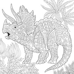 Stylized stegosaurus dinosaur of the Jurassic and early Cretaceous periods. Freehand sketch for adult anti stress coloring book page with doodle and zentangle elements.