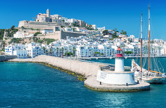 Ibiza port, beautiful panoramic view on a sunny day