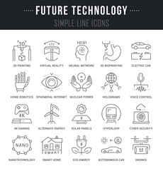 Set Vector Line Icons of Future Technology.