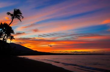 Wall Mural - Hawaiian sunset blue and orange