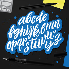 Decorative Vector ABC Kit. Nice Typography for Your Design. Hand Drawn Lettering and Calligraphy for: Logo, Poster, Card, etc. Creative Workspace, set of Objects for Designers.