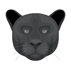 Black panther icon in cartoon style isolated on white background. Realistic animals symbol stock vector illustration.