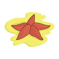 Seastar icon in cartoon style isolated on white background. Sea animals symbol stock vector illustration.