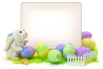 Obraz Easter eggs, bunny and blank card - fototapety do salonu