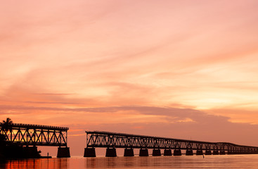 Bahia Honda Rail Bridge at Sunset. The Bahia Honda Rail Bridge is a derelict railroad bridge in the lower Florida Keys connecting Bahia Honda Key with Spanish Harbor Key.