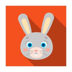 Rabbit muzzle icon in flat style isolated on white background. Animal muzzle symbol stock vector illustration.