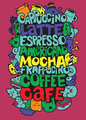 Hand drawing names of popular coffee drinks with cute monsters ,Vector illustration