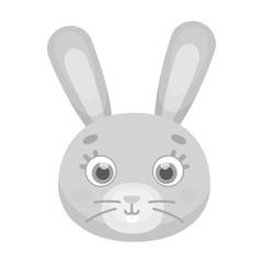 Rabbit muzzle icon in monochrome style isolated on white background. Animal muzzle symbol stock vector illustration.