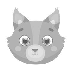 Wolf muzzle icon in monochrome style isolated on white background. Animal muzzle symbol stock vector illustration.