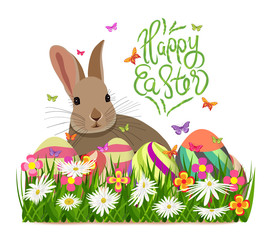 Happy easter. Hello spring background with grass