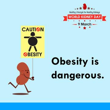 World kidney day 2017, celebrating to prevention obesity greeting card illustration cartoon
