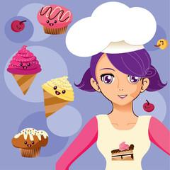 manga girl chef