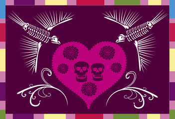 mexican skull in a heart