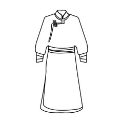 Blue Bathrobe of Mongolians.Fragment nominalnog clothes of Mongolia.Mongolia single icon in outline style vector symbol stock illustration.