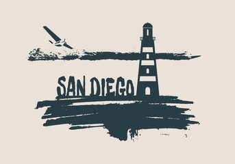 Lighthouse on brush stroke seashore. Clouds line with retro airplane icon. Vector illustration. San Diego city name text.