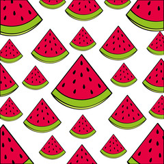 watermelon pattern fresh fruit drawing icon vector illustration design