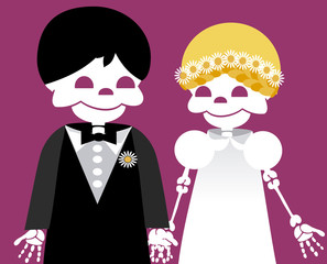 wedding between skeletons