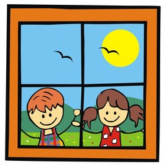 children and window, landscape, vector illustation