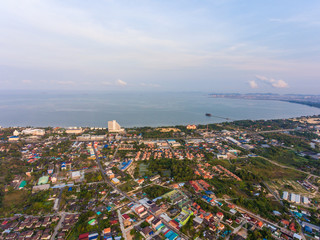 Aerial view of Pattaya city from rural area zone in the morning