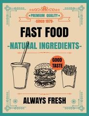 Vintage Poster.fast foodmenu. Set on the chalkboard.Design in retro style