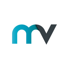 Initial Letter MV Rounded Lowercase Logo