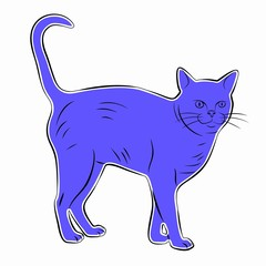 silhouette of a cat, vector draw