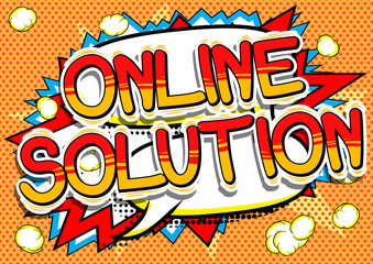 Online Solution - Comic book style word on abstract background.