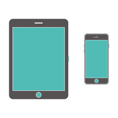 Tablet computer and mobile phone icons