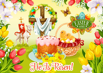 Easter Day and Egg Hunt greeting card design