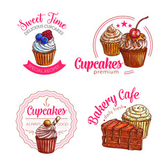 Dessert cakes and cupcakes vector icons