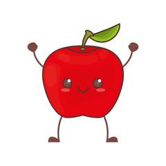 kawaii apple fruit image vector illustration eps 10