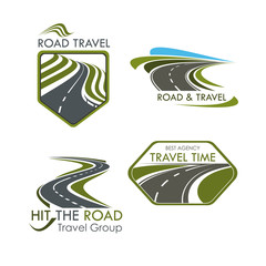 Road travel and tourism vector icons set
