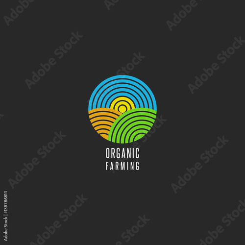 quotorganic farm logo round shape abstract line style
