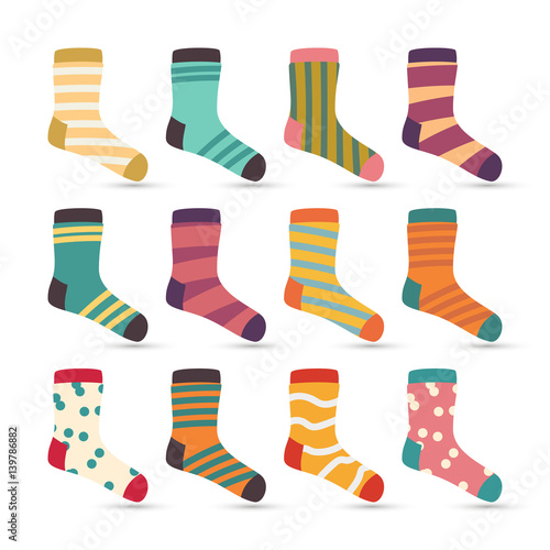 """Child Socks Icons Vector. Colorful Cartoon Cute Stylized ..."
