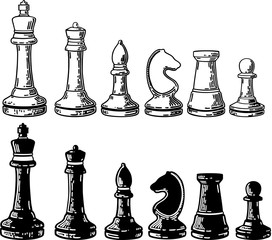 Vector Chess Figures, black and white. Illustration. Drawing ink.