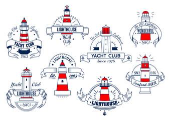 Lighthouse vector icons for yacht club or bar