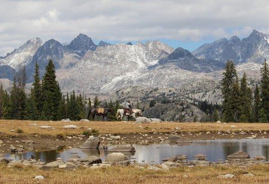 Horse Rider in Wind River Range