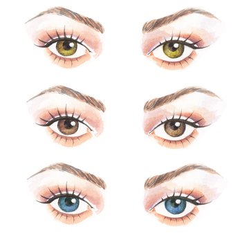 Hand drawn watercolor eyes. Colorful illustration