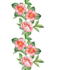 Floral pattern. Watercolor red flowers. Seamless border 2