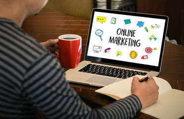 ONLINE ADVERTISING man working on laptop , Online Website Marketing , Update Trends  Advertising , Online Business Content Strategy