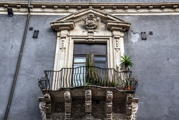 Details of typical residential buildings in Catania, Sicily in Italy