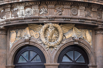 Details of Teatro Massimo Bellini opera house in Catania, Sicily, Italy