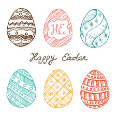 Set of Easter eggs with patterns, ornaments and lettering. Easter holidays design template for invitation card. Vector vintage illustration.